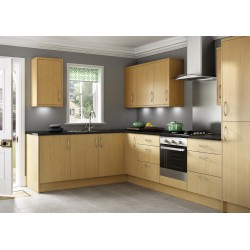 Mallow Vertical Oak Grain Slab Door Kitchen