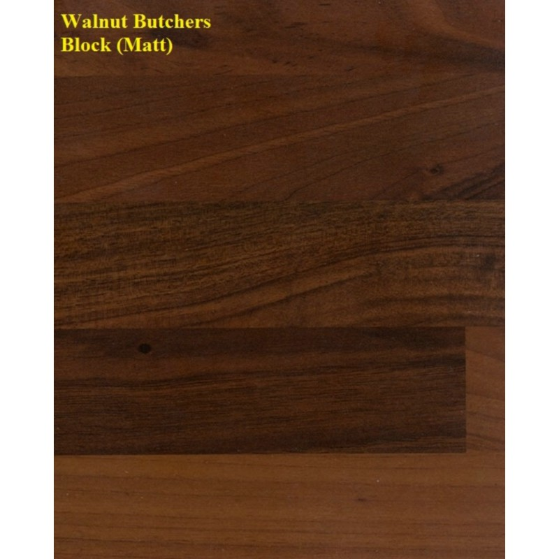 Spectra Walnut Butcher Block Matt Laminate Worktop With Wood