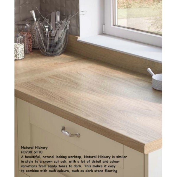 Natural Hickory H3730 ST10 Contemporary Worktop
