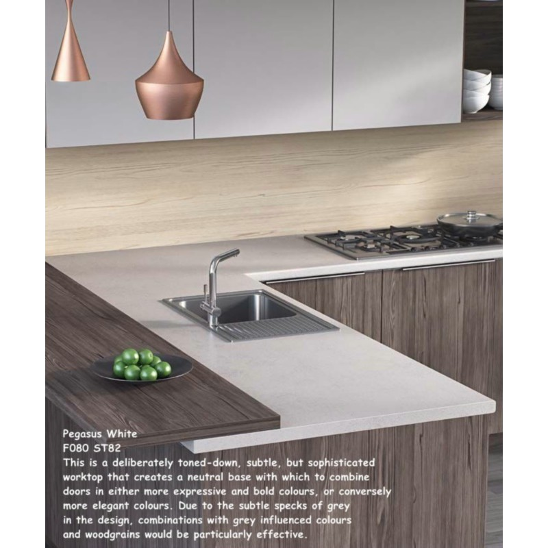 Pegasus White F080 St82 Contemporary Worktop