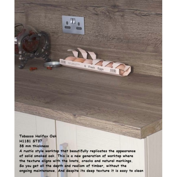 Tobacco Halifax Oak H1181 ST37 Premium Square Edge Worktop 38mm