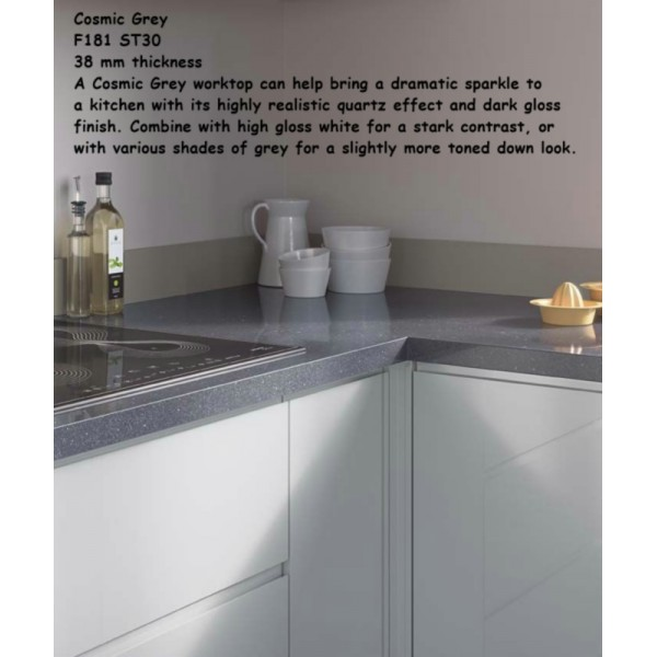 Cosmic Grey F181 ST30 High Gloss Premium Square Edge Worktop 38mm