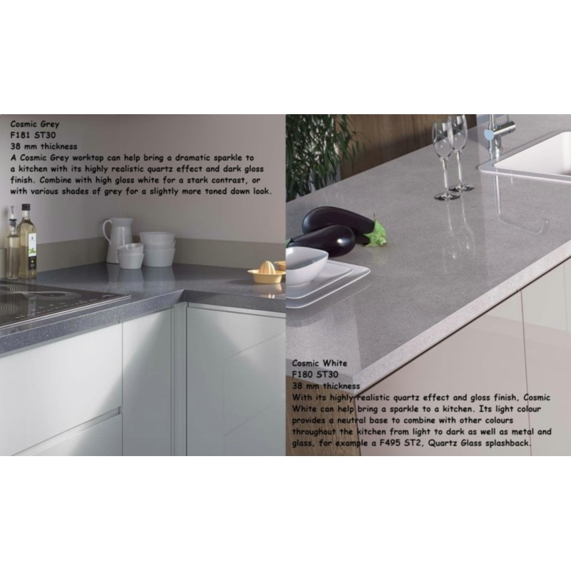Kitchen Worktops That Fit Over Existing Worktops: Cosmic Grey F181 ST30 High Gloss Premium Square Edge