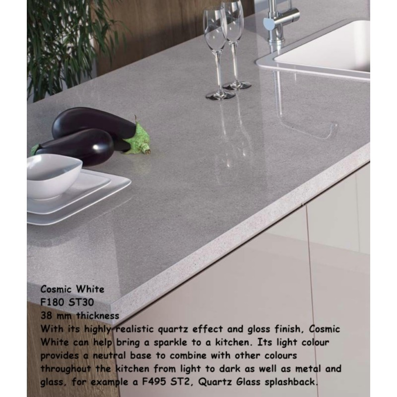 Kitchen Worktops That Fit Over Existing Worktops: Cosmic White F180 ST30 High Gloss Premium Square Edge
