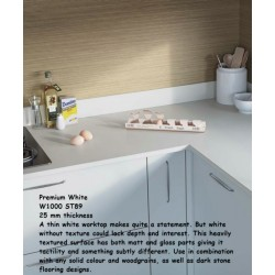 Premium White W1000 ST89 Premium Square Edge Worktop 25mm