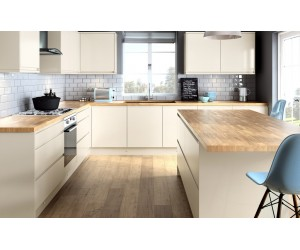 Openhouse J-Profile Dijon Cream High Gloss Handless Kitchen